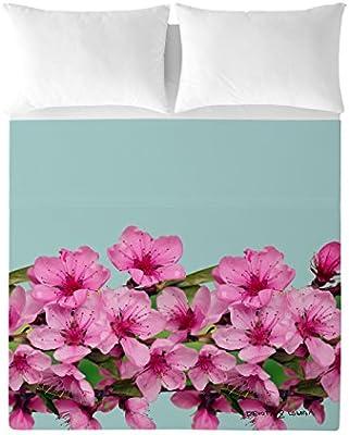 Devota & Lomba Flor Almendro Cenefa Juego de sábanas, Algodón, Multicolor, 180 x 200 cm: Amazon.es: Hogar