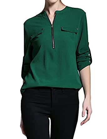 BALEMS Womens Casual Chiffon V Neck Cuffed Sleeve Blouse Tops,Small,Green