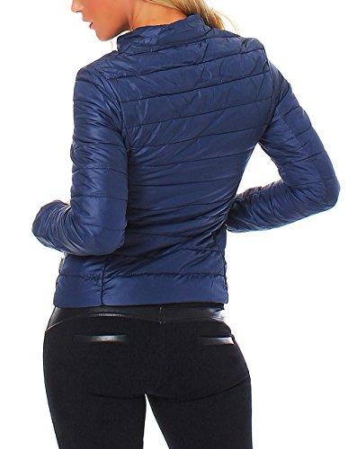 B-Style-Fashion - Chaqueta - chaqueta guateada - para mujer azul oscuro