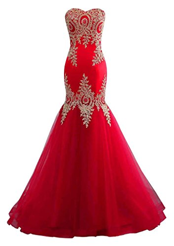 Changuan Mermaid Evening Dress for Women Backless Formal Long Prom Dresses with Embroidery Red with Train-2