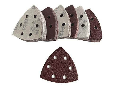 ChenXi Shop 100 Pieces 90x90x90mm Triangle Sandpaper Velcro Sanding Sheets Mouse Sander Pads 60 Grits 6 Holes About 3.54x3.54x3.54