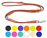 CollarDirect Rolled Leather Dog Leash Adjustable Length 4ft 5 ft 6ft, Multi Functional Training Dog Lead Soft Rolled Leather 4 5 6 feet Puppy Black Blue Orange Lime Pink Brown Purple (Brown, M/L)