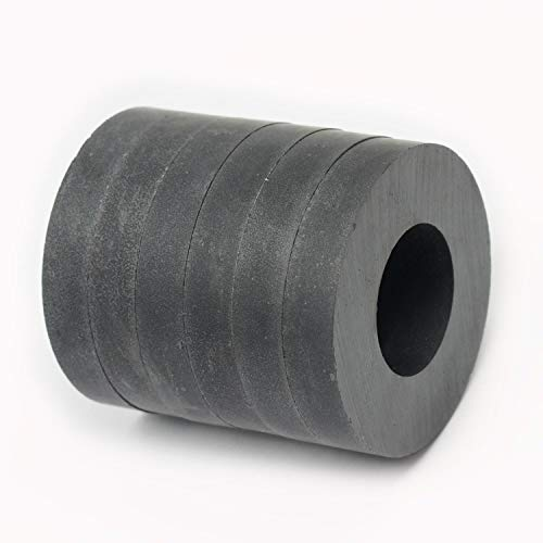 CMS Magnetics Grade 8 Ceramic Ring Magnet, OD 45 mm x ID 22mm x 8 mm. 6 Pack