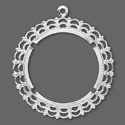 1932MT Cabochon Setting Bezel Filigree Silver Brass fits 38mm cab, 2 Qty