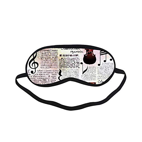 Old Newspaper Decor Fashion Black Printed Sleep Mask,Classical Music Theme Instruments Piano Violin Notes Symbols Decorative for Bedroom,7.1
