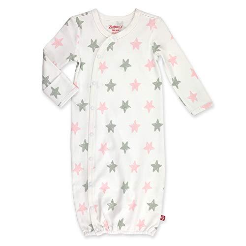 Zutano Unisex Kimono Gown, Pink Stars, One Size (0-6 Months)