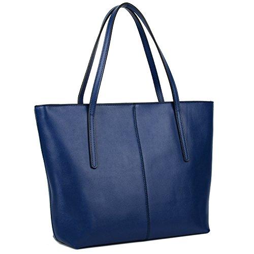Simple Azul Bolso Hombro Yaluxe Mano Con Bolso Cuero Manilla De De Mujer De Genuino vqO1Zxqf