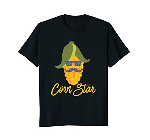 Mens Corn Star Funny Sunglasses Mustache Star Corn Maize T-Shirt Medium Black (Maize Color)