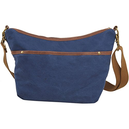 NiSeng Canvas Vintage Lässige Multifunktions Freizeit Umhängetasche Schultasche für Herren Blau eBOvrgk
