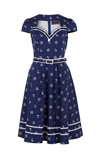 5c6fda7bbf5 Nautical Dream Pin-up Sailor Anchor   Boatwheel Navy Blue Flare Party Dress  (XL) at Amazon Women s Clothing store
