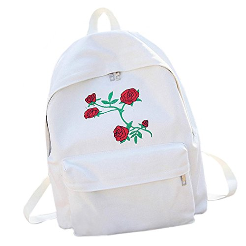 School Bag,Han Shi Women Embroidery Flowers Canvas Travel Backpack Casual Bag Bookbag (White, L)