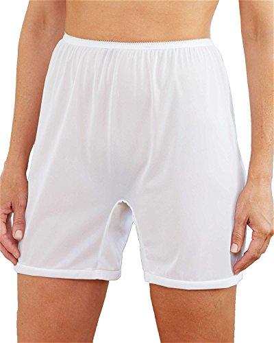 National Long Leg Nylon Tricot Panty, White, 9, 3-pk