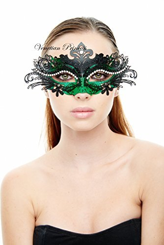 KAYSO INC Exclusive Eyes of Angel Laser Cut Masquerade Mask, Black & Green]()
