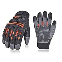 Vgo 3Pairs High Dexterity Water Repellent Goat Leather Heavy Duty Mechanic Glove,Rigger Glove,Anti-vibration,Anti-abrasion,Touchscreen (Orange,GA8954)