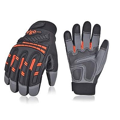 Vgo High Dexterity Water Repellent Goat Leather Heavy Duty Mechanic Glove,Rigger Glove,Anti-vibration,Anti-abrasion,Touchscreen (1Pair,Orange,GA8954)