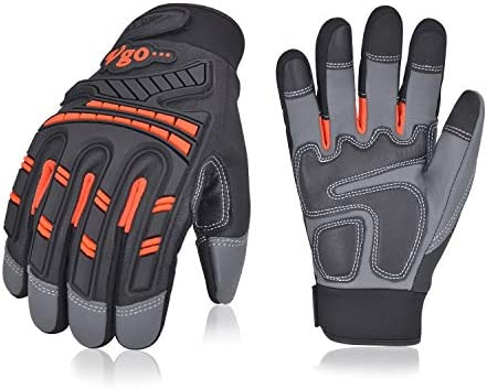 Size L,Orange,GA8954 Vgo 3Pairs High Dexterity Water Repellent Goat Leather Heavy Duty Mechanic Glove,Rigger Glove,Anti-vibration,Anti-abrasion,Touchscreen