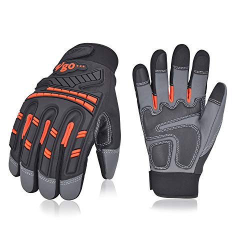 Vgo 3Pairs High Dexterity Water Repellent Goat Leather Heavy Duty Mechanic Glove,Rigger Glove,Anti-vibration,Anti-abrasion,Touchscreen (Size XL,Orange,GA8954)