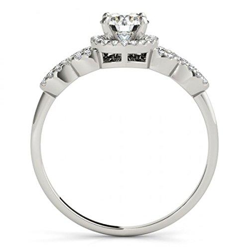 Or blanc 9ct imitation diamant Halo Bague de fiançailles 1.00CT