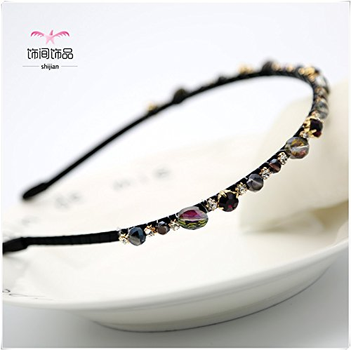 Korean minimalist high-grade diamond gemstone hoop crystal headband hair thin edge crush simple hairpin jewelry retro wild