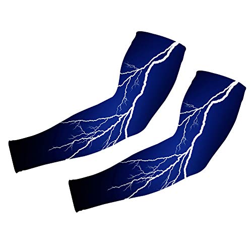 Uideazone 3D Lightning Printed Arm Sleeves Cover UV Sun Protection Outdoor Sports for Men Women Compression Sleeves UPF 50 Long Sun Sleeves ()