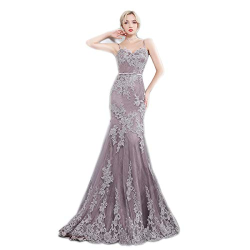 Women's Trumpet Prom Dress Lace Simple Spaghetti Straps Long Party Dresses 2018 Mermaid Evening Dress US2
