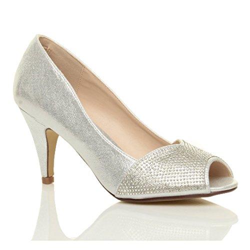 Mariage Argent Pointure Femmes Sandales Bout Haut soirée Strass Chaussures Talon Ouvert wqBUT0