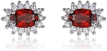 Kate Middleton's Princess Diana 1.8ct Gemstone Natural Garnet Stud Earrings 925 Sterling Silver
