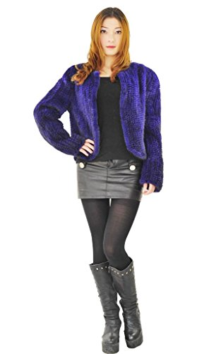 CX FUR Womens Jackets Handknitted Real Mink Fur Coats,BlueColour ,M ()