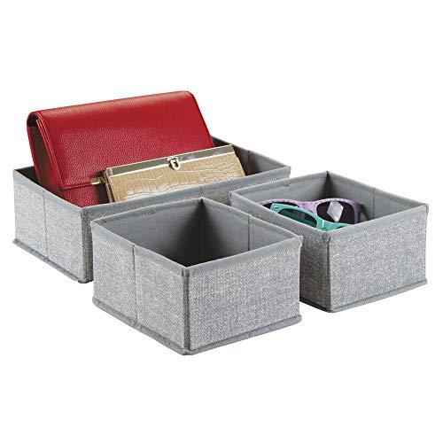 InterDesign Fabric Closet/Dresser Drawer Storage Organizer, Set of 3 Soft Storage Bins for Underwear, Socks, Kids Clothes or Accessories, Gray