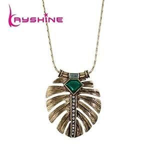 2016nuevo disfraz joyas collar largo bronce cadena verde piedra pluma forma colgante collar para las mujeres Collier Femme