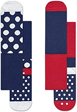 Happy Socks Colourful Pattern 2-Pack Anti-Slip Cotton Socks for Boys and Girls