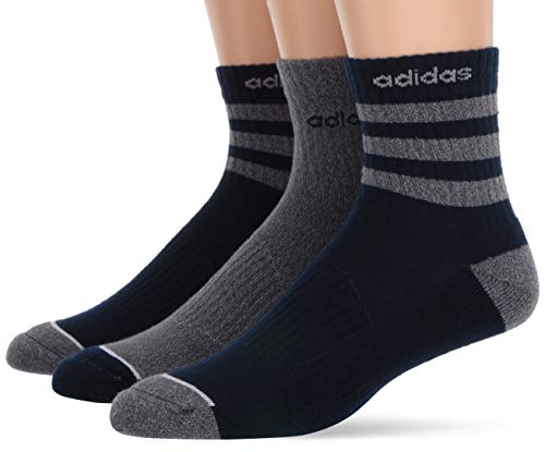 - adidas Men's 3-Stripe High Quarter Socks (3-Pack), Navy/Grey, Size 6-12