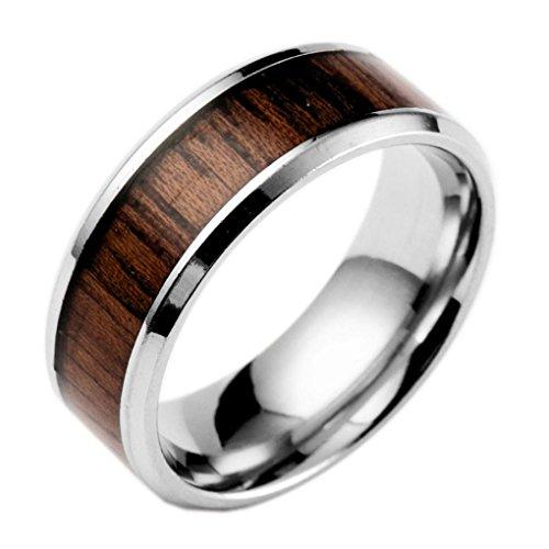 Clearance Popular Wedding Ring Inlaid Teak Titanium Ring Stainless Steel Jewelry