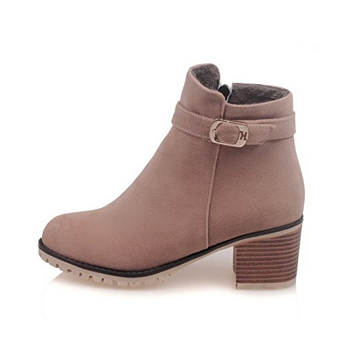 Boots Top Zipper Kitten Frosted Low Allhqfashion Heels Women's Apricot Round Toe Closed BzqxEEvOnf