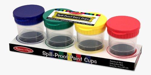 Melissa & Doug Spill-Proof Paint Cups - 4-Pack, Airtight Seal, Snap Lids 1623 538518