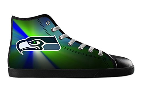 Seahawks Logoman Halkfria Svart Hög Topp Tygskor Seahawks Canvas Shoes06