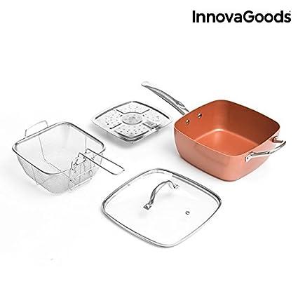 InnovaGoods Set de Sartén Multifunción 5 En 1 Copper, Aluminio, Plateado, 24 cm, 4 Unidades: Amazon.es: Hogar