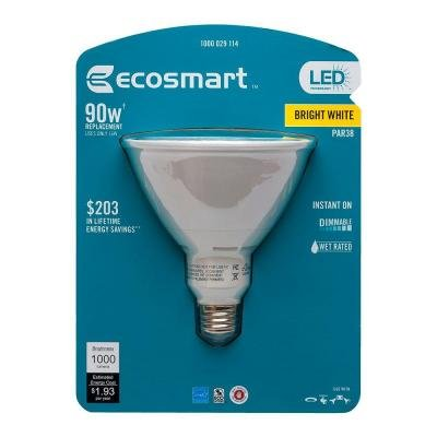 Ecosmart 90W Equivalent 3000K PAR38 LED Flood Light Bulb (E)*, Bright White