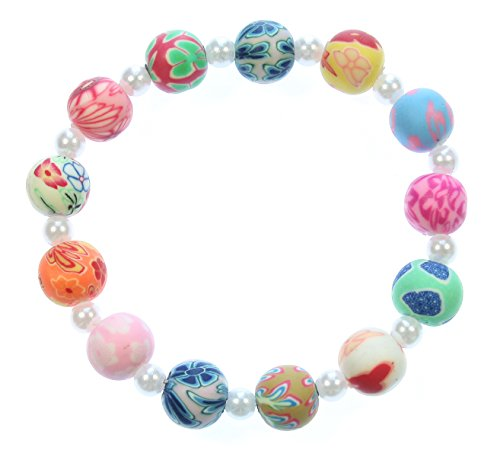 y in Summer Pastel Bead Stretch Bracelet with Flower Motif, 7.5 Inches Size Large ()