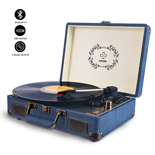 Record Player, LUKER Portable Suitcase Bluetooth Turntable for Vinyl Record, Belt-Drive 3-Speed Stereo Turntable with Speakers, Support Power Bank Supply, RCA Audio Output, AUX/USB/SD Input -