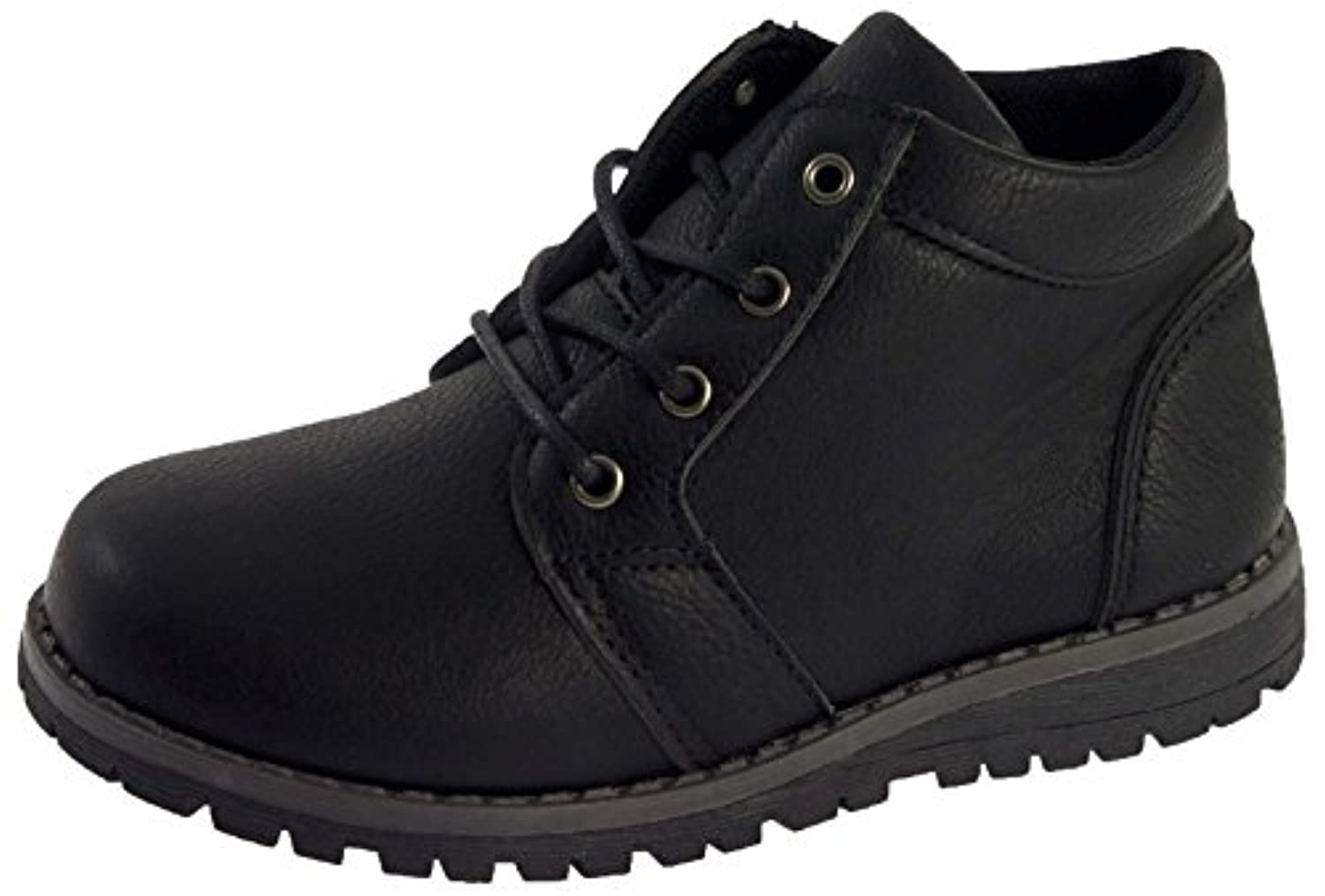 Strong Souls Boys Faux Leather Ankle Boots Velcro / Lace Up Casual School Shoes Kids Size UK 5-12