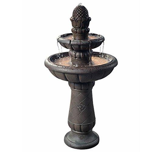 """Peaktop VFD8177 - Outdoor Deluxe Pineapple 2-Tier Waterfall Fountain - 39"""", Iron Grey"""