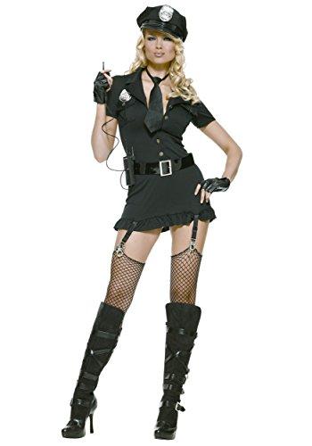 Womens Cop Halloween Costume (Leg Avenue Women's 6pc. Dirty cop incl hat, Dress, Gloves, Belt, tie & walkie Talkie, black,)