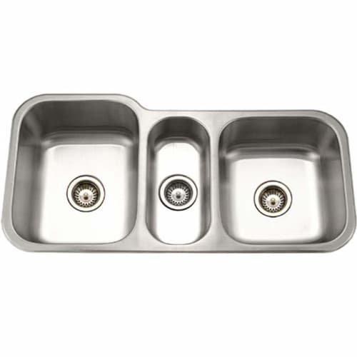 Houzer MGT-4120-1 Medallion Gourmet Series Undermount Stainless Steel Triple Bowl Kitchen Sink