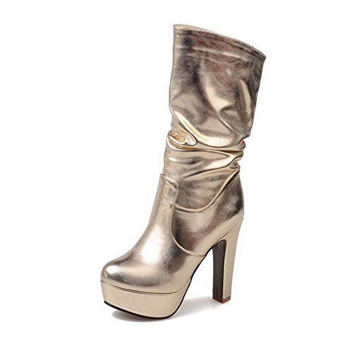 AllhqFashion Womens Round Closed Toe High-Heels Soft Material Mid-top Solid Boots Gold