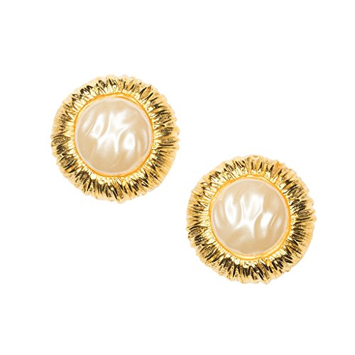 Pearl Earrings as Worn by Barbara Bush Clips Ons Button with Rim by Kenneth Jay Lane