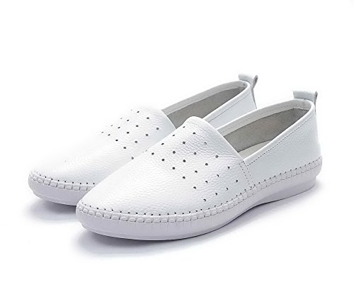AdeeSu Womens Retro Round-Toe Hollow Out Leather Loafers Shoes SDC03715 White UReIeHm2