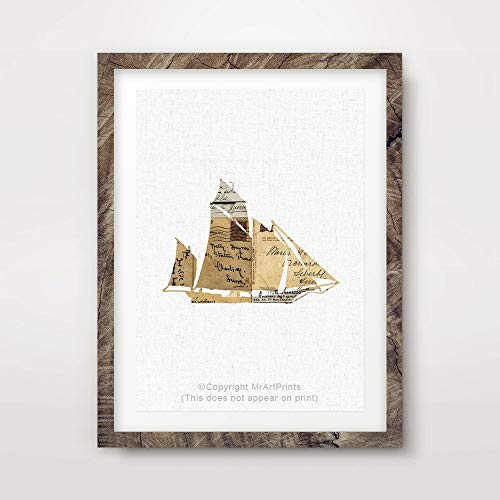 VINTAGE NEUTRAL SEPIA SHIP SILHOUETTE SAIL BOAT ILLUSTRATION MARITIME SEASIDE NAUTICAL ART PRINT Poster Home Decor Interior Design Wall Picture A4 A3 A2 (10 Size Options)