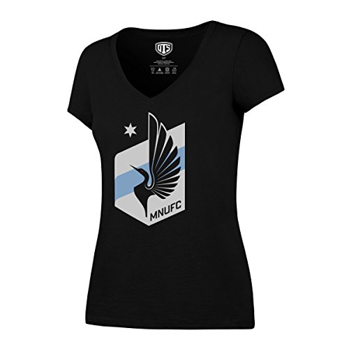 OTS MLS Minnesota United Women's Rival VNeck Tee, Medium, Jet (United Premium T-shirt)