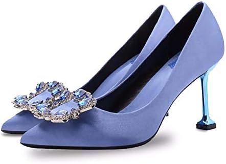 Women S Diamonds Heels Pointy Toe Stilettos Slip On Pumps Satin